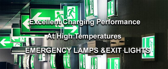 lithium iron phosphate batteries in emergency lamps and exit lights.