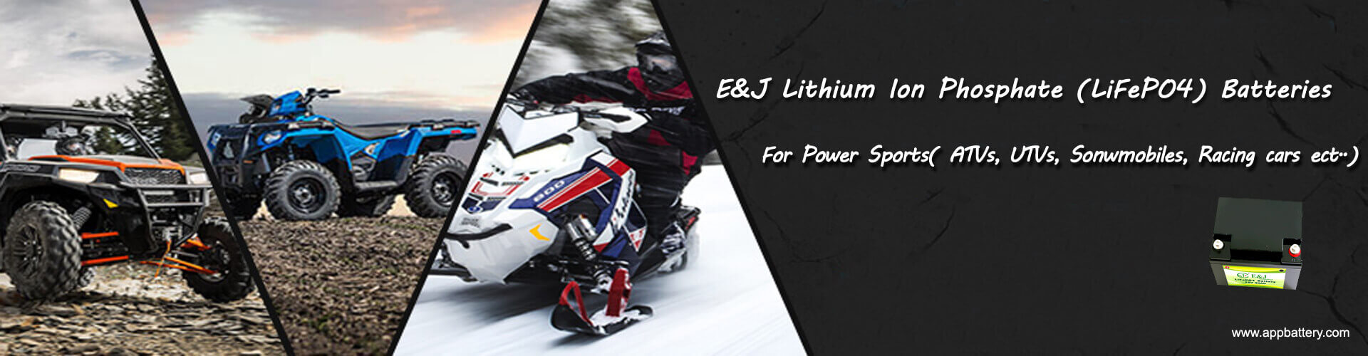 Lithium iron phosphate lifepo4 batteries ATVs, UTVs, Snowmobiles, Race cars power sports_banner