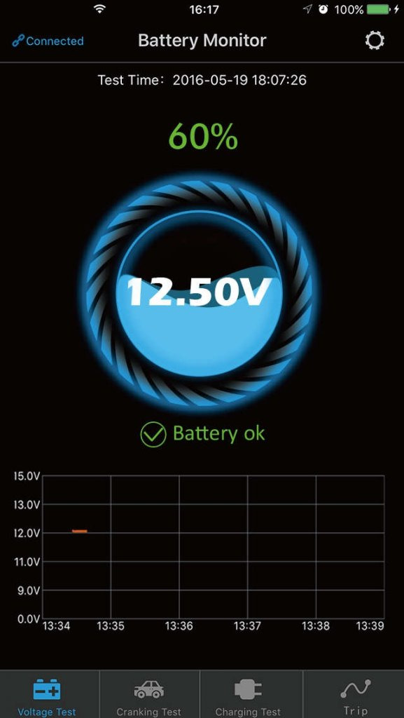Show voltage, charge %, result