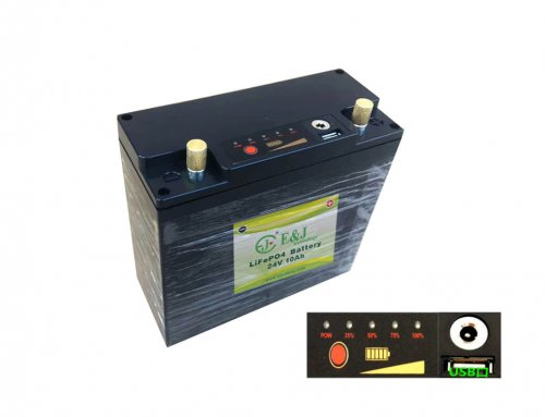 24V 10Ah 240Wh LifePo4 battery Pack built-in monitor, USB port and charge port.