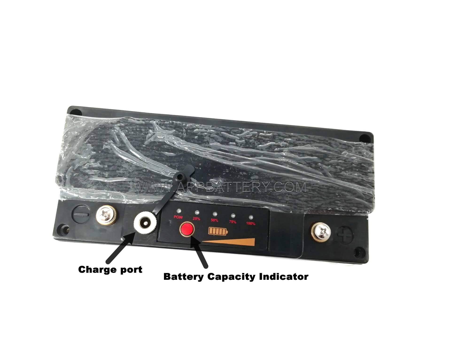 EJ12v20c battery box with charging port and battery capacity indicator