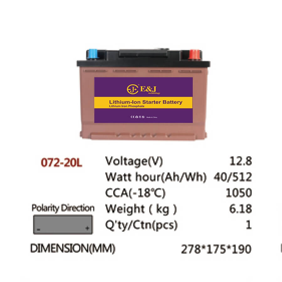 072-20L 12.8V 40AH 512Wh 1050CCA LiFePo4 LFP Lithium-iron Phosphate Battery Pack with Embedded BMS