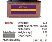 100-20L 12.8V 50AH 640Wh 1350CCA LiFePo4 LFP Lithium-iron Phosphate Battery Pack with Embedded BMS