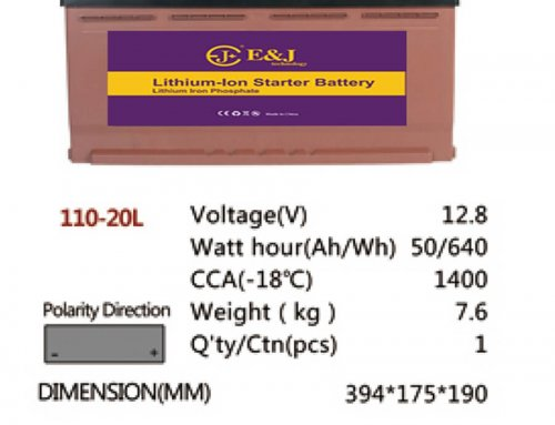 110-20L 12.8V 50AH 640Wh 1400CCA LiFePo4 LFP Lithium-iron Phosphate Battery Pack with Embedded BMS