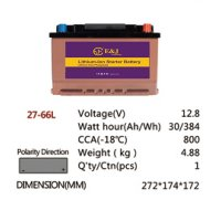 27-66L 12.8V 30AH 384Wh 800CCA LiFePo4 LFP Lithium-iron Phosphate Battery Pack with Embedded BMS