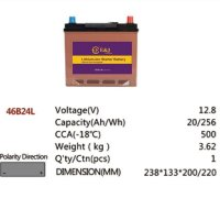 46B24L 12.8V 20AH 256Wh 500CCA LiFePo4 LFP Lithium-iron Phosphate Battery Pack with Embedded BMS
