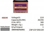 46B24R 12.8V 20AH 256Wh 500CCA LiFePo4 LFP Lithium-iron Phosphate Battery Pack with Embedded BMS