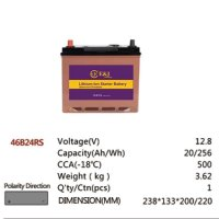46B24RS 12.8V 20AH 256Wh 500CCA LiFePo4 LFP Lithium-iron Phosphate Battery Pack with Embedded BMS
