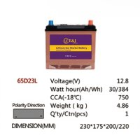 65D23L 12.8V 30AH 384Wh 750CCA LiFePo4 LFP Lithium-iron Phosphate Battery Pack with Embedded BMS