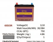 65D23R 12.8V 30AH 384Wh 750CCA LiFePo4 LFP Lithium-iron Phosphate Battery Pack with Embedded BMS