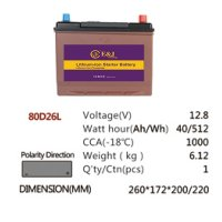 80D26L 12.8V 40AH 512Wh 1000CCA LiFePo4 LFP Lithium-iron Phosphate Battery Pack with Embedded BMS
