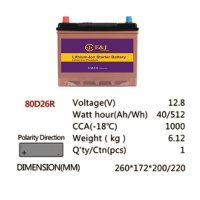 80D26R 12.8V 40AH 512Wh 1000CCA LiFePo4 LFP Lithium-iron Phosphate Battery Pack with Embedded BMS