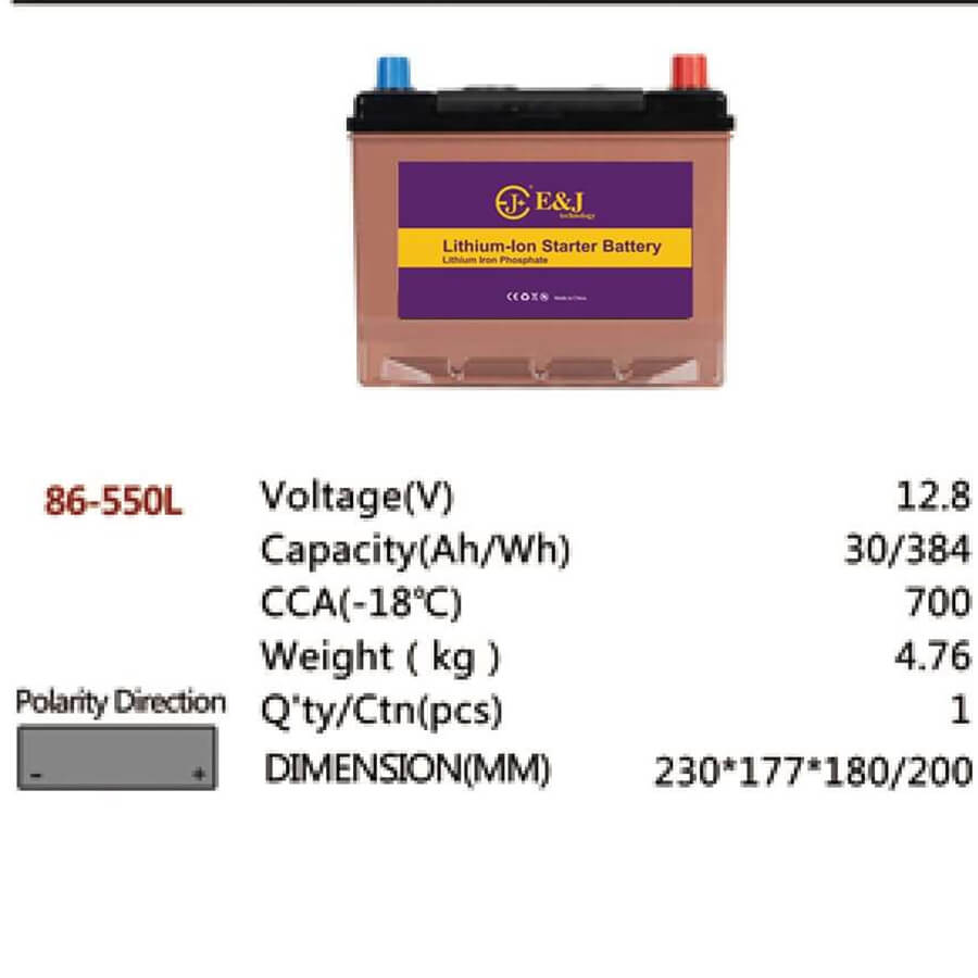 86-550L 12.8V 30AH 384Wh 700CCA LiFePo4 LFP Lithium-iron Phosphate Battery Pack with Embedded BMS