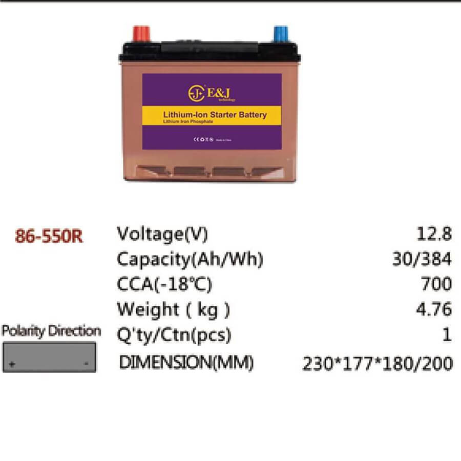 86-550R 12.8V 30AH 384Wh 700CCA LiFePo4 LFP Lithium-iron Phosphate Battery Pack with Embedded BMS
