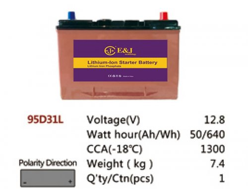 95D31L 12.8V 50AH 640Wh 1300CCA LiFePo4 LFP Lithium-iron Phosphate Battery Pack with Embedded BMS