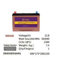 95D31R 12.8V 50AH 640Wh 1300CCA LiFePo4 LFP Lithium-iron Phosphate Battery Pack with Embedded BMS