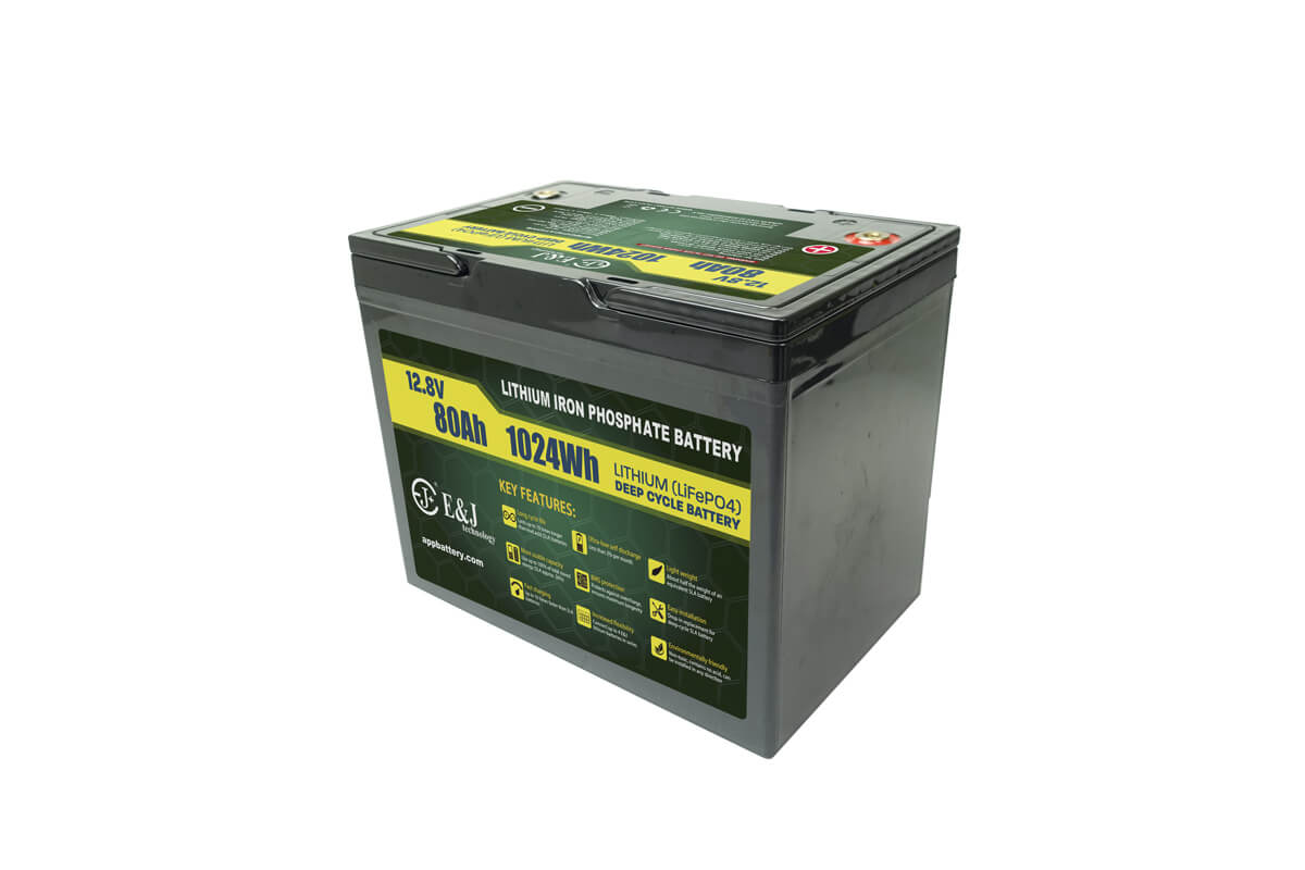 Group 24 size drop in Deep-Cycle 12V 80Ah Lithium Battery for golf carts Solar Power, RV, EV and Marine