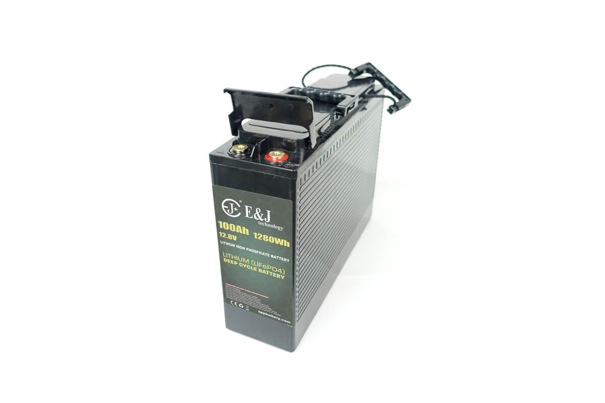 12.8v 100Ah front access battery LiFePO4 Slim line battery lithium iron phospate battery pack