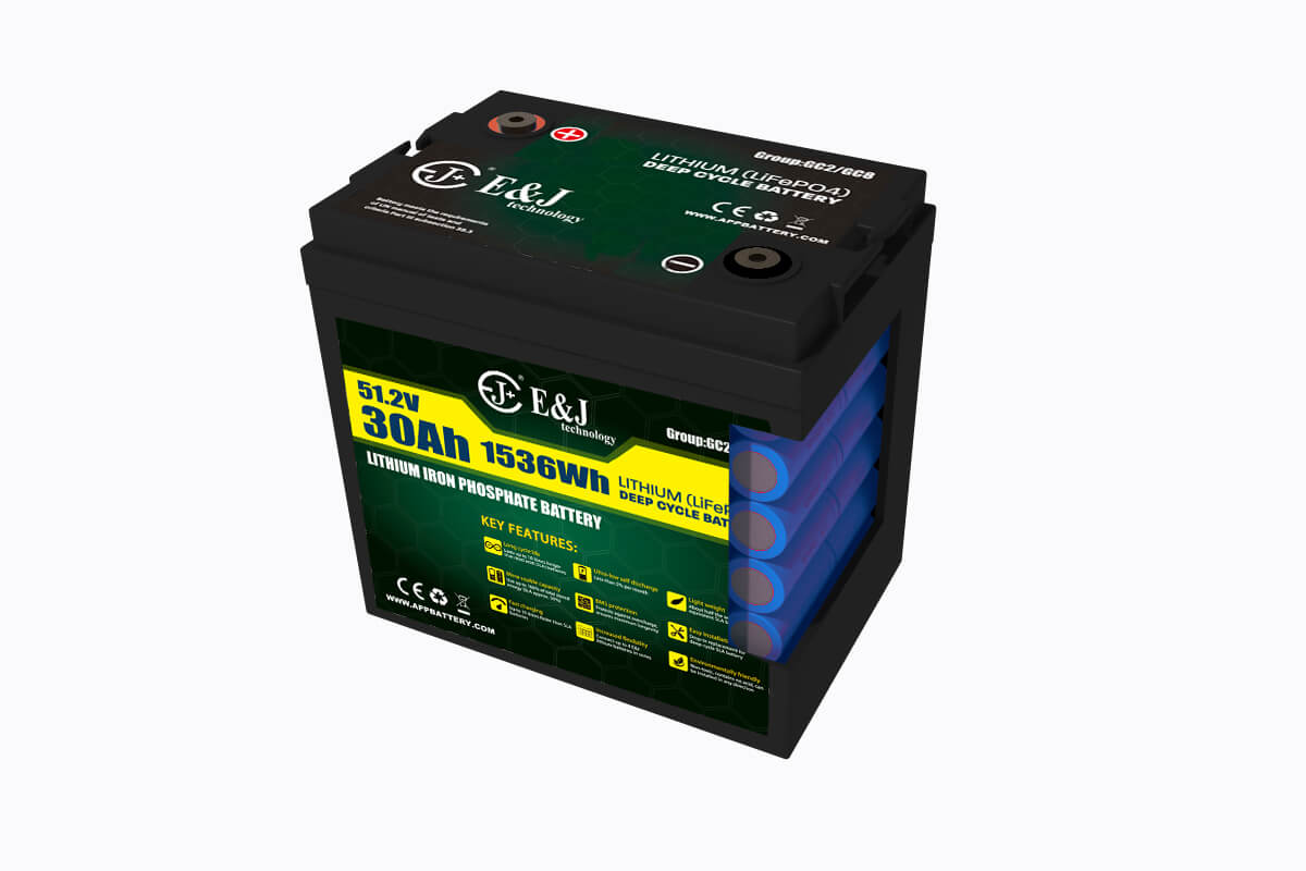 Inside structure 48V GC2 lithium golf car battery