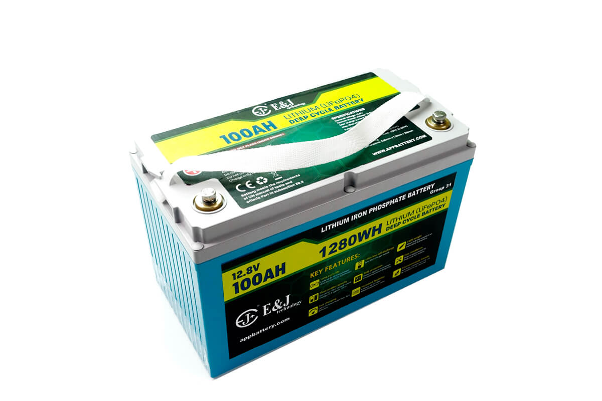 Waterproof IP67 LiFePO4 battery pack Group 31 size 12.8V 100Ah lithium battery