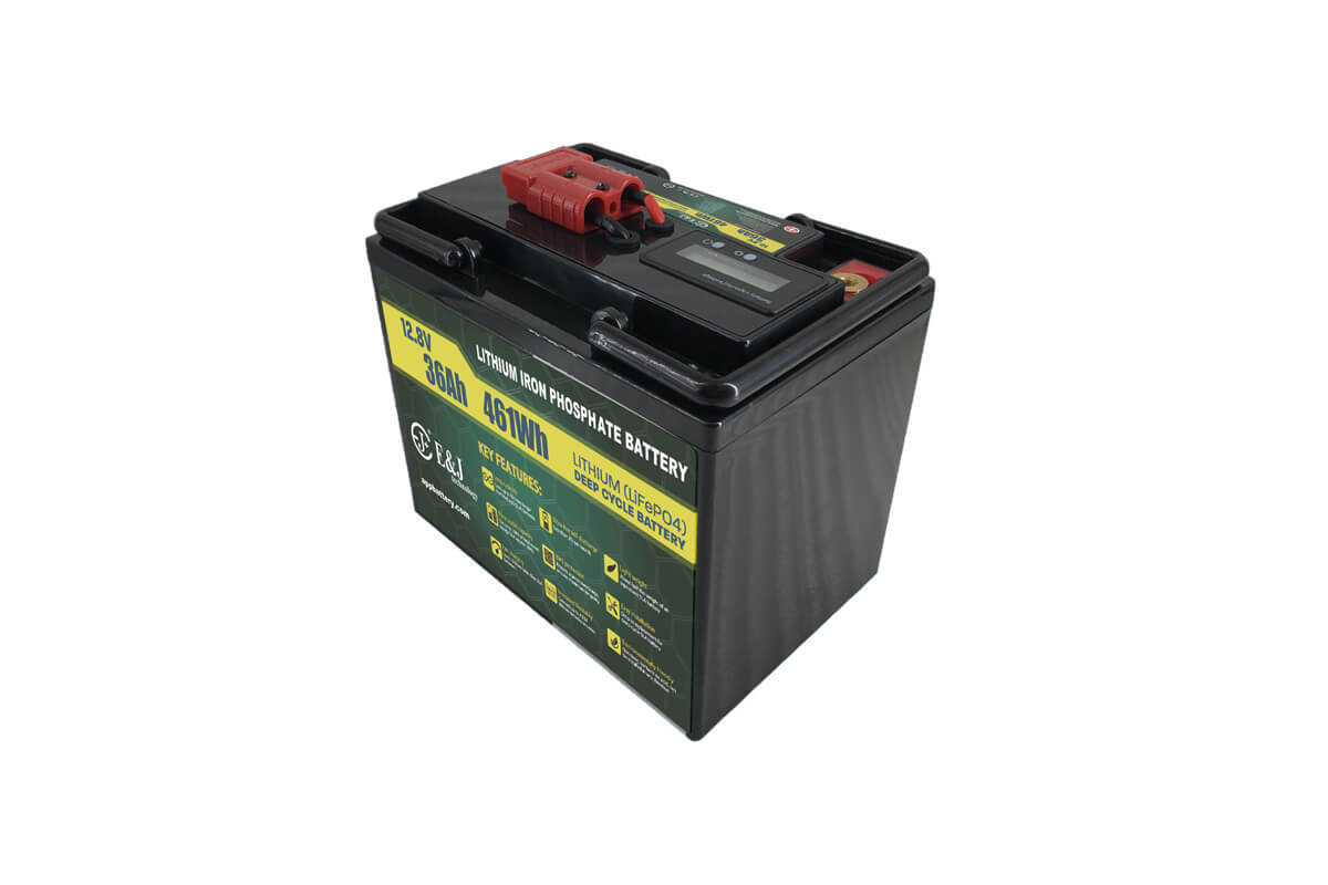 LiFePO4 12V 36Ah Lithium battery pack with SOC meter and Anderson plug for outdoor application
