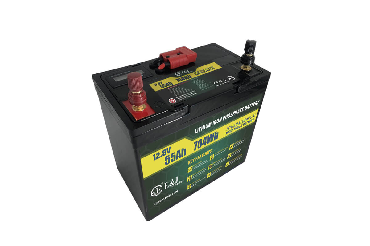 LiFePO4 12V 55Ah Lithium battery pack with SOC meter and Anderson plug for outdoor