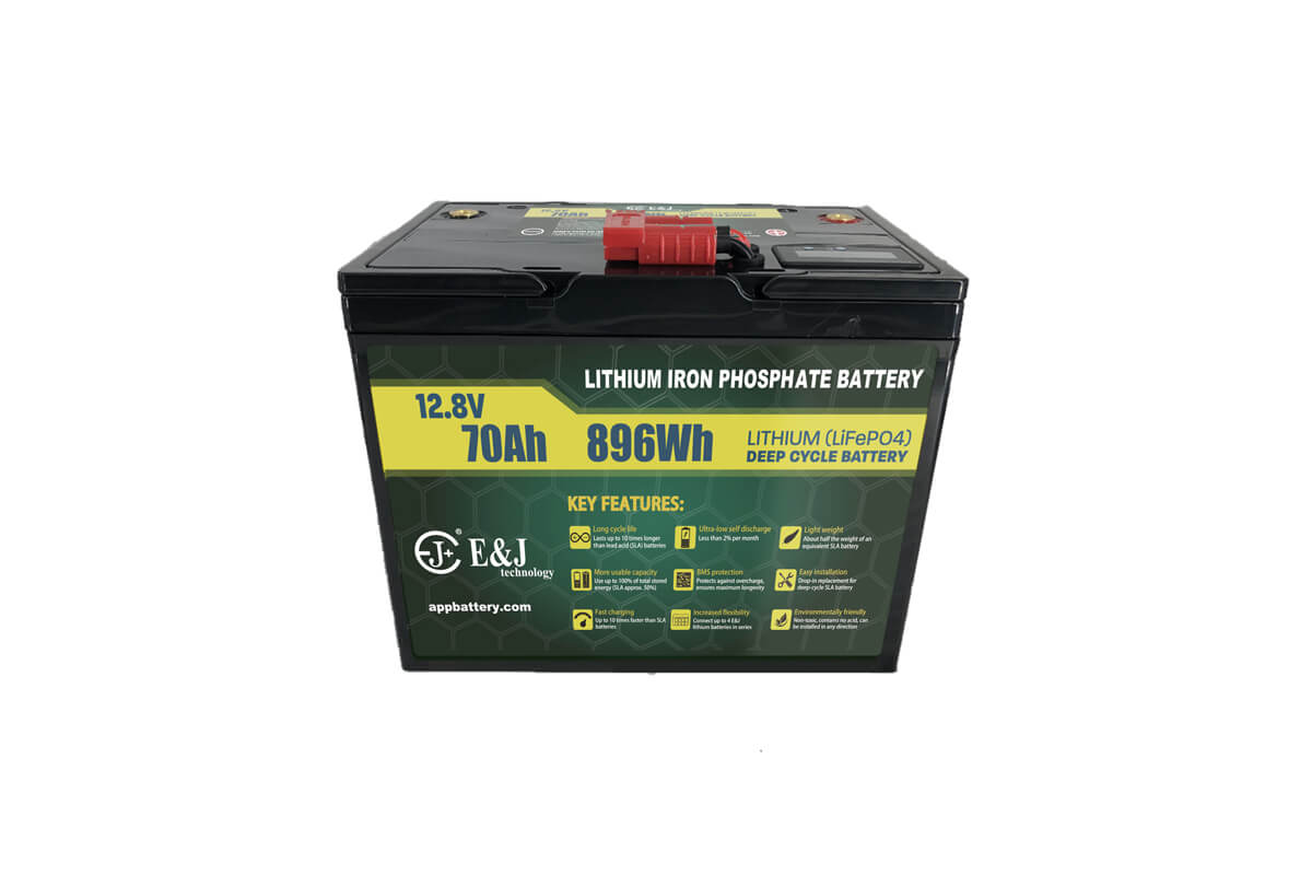 LiFePO4 12V 70Ah Lithium battery pack with SOC meter and Anderson plug for outdoor application