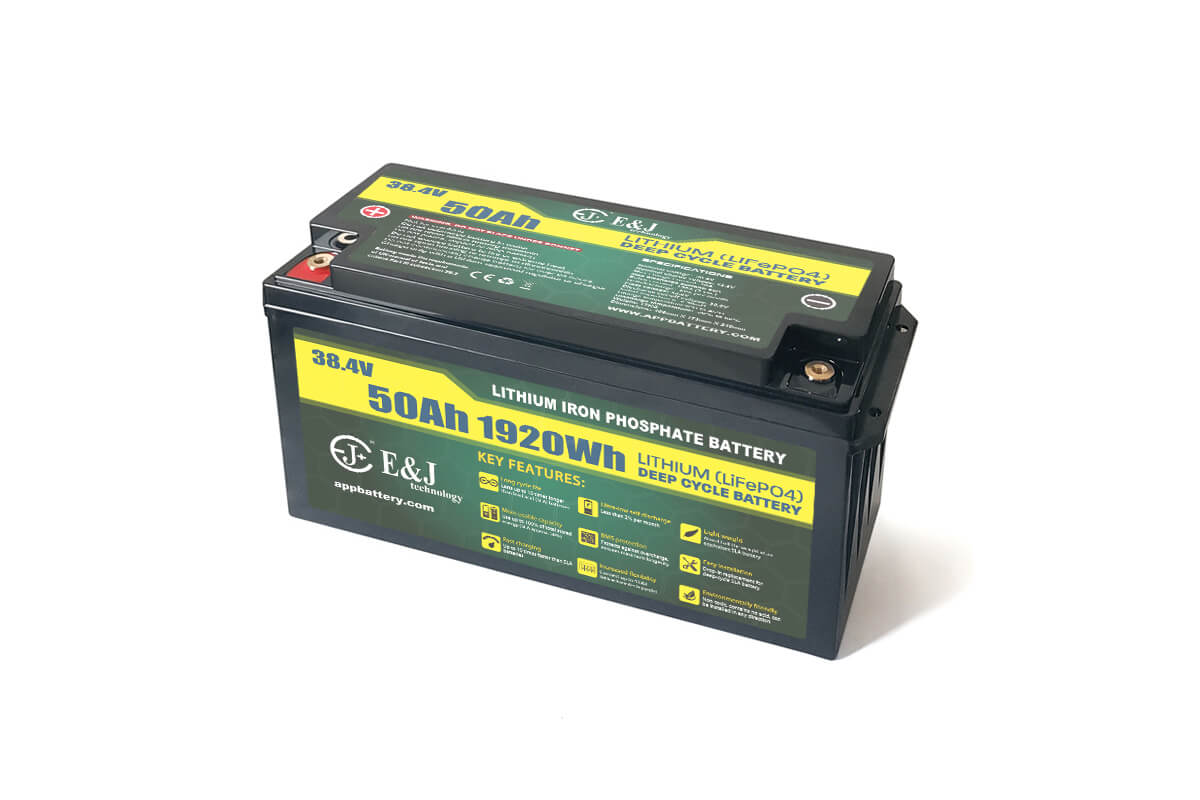 LiFePO4 36 volt 50 amp hour battery Lithium deep cycle application in marine or rugged environments
